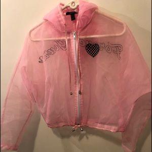 Pink mesh Forever 21 jacket size large women's